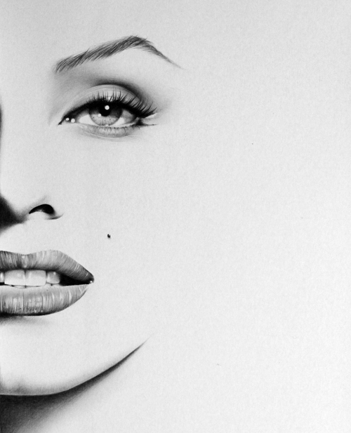 14-Marilyn-Monroe-Ileana-Hunter-Celebrity-Black-and-White-Stylish-Drawing-Portraits-www-designstack-co