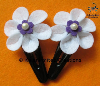 kalanirmitee: felt flowers-flowers-hair-clips- hair accessories