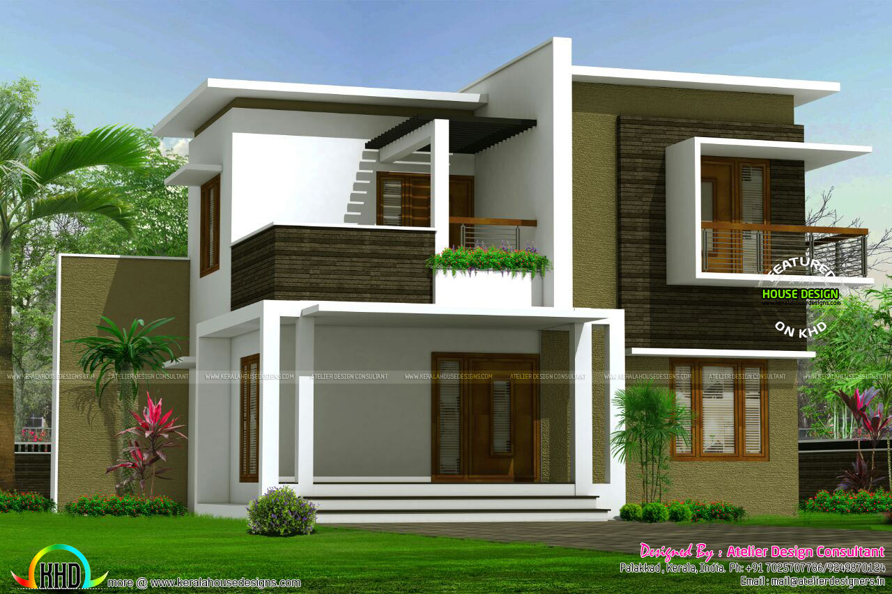 Contemporary box model home architecture kerala home for Model house design