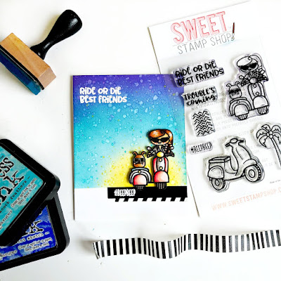 Ride or Die Best Friends Card by Samantha Mann, Sweet Stamp Shop, distress ink, handmade card, scooter, stamps, #sweetstampshop, #cards