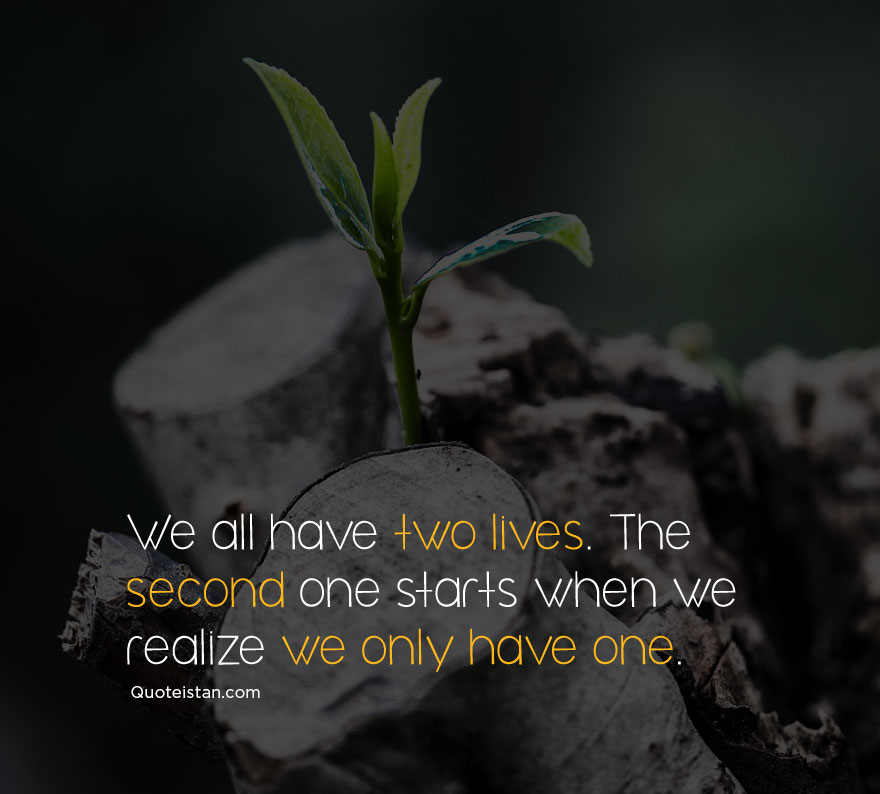 We all have two lives. The second one starts when we realize we only have one. #quoteofthday