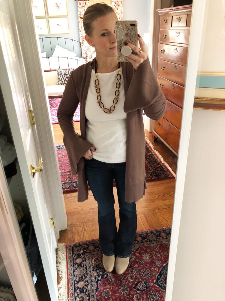 white tee with tortoise necklace and bell sleeve cardigan sweater