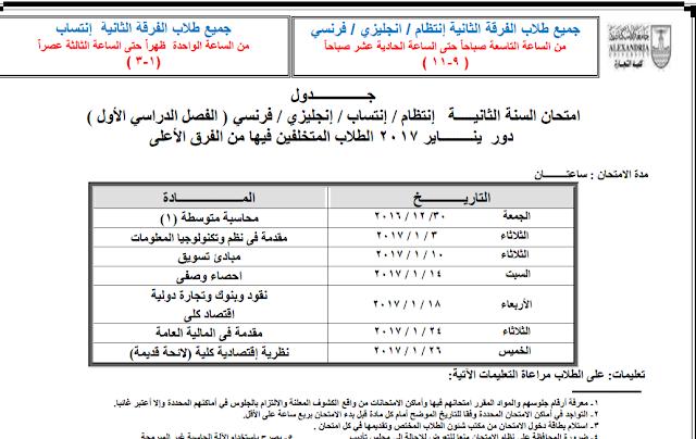 الان جدول امتحانات  كلية التجارة 2017 جامعة الاسكندرية