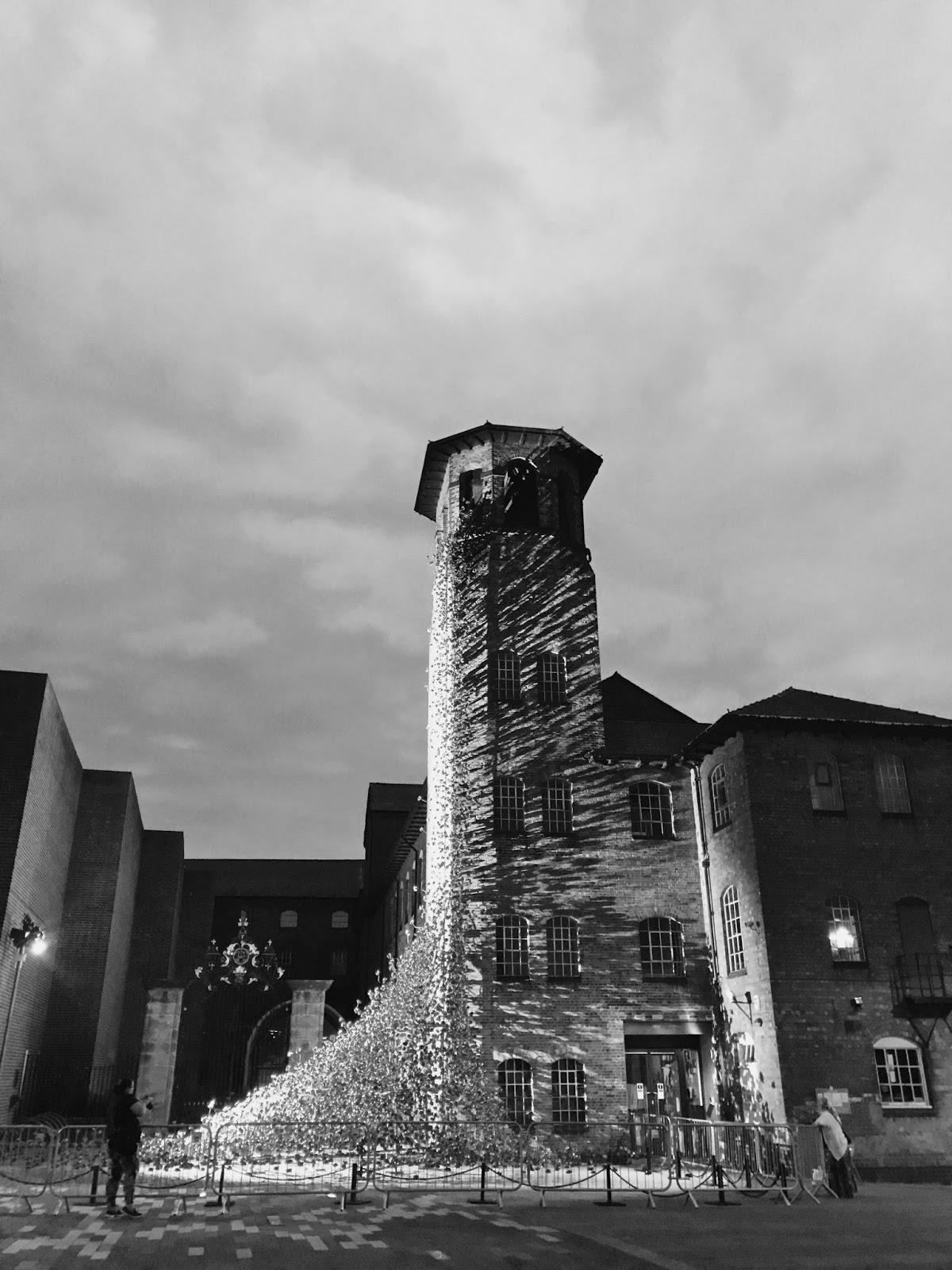 Derby Silk Mill, Black and White, Derby, Derbyshire, Poppies, Weeping Window, Shadows, Derbys, Katie Writes Blog, Katie Writes,