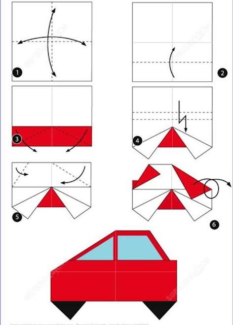 Origami para niños coche