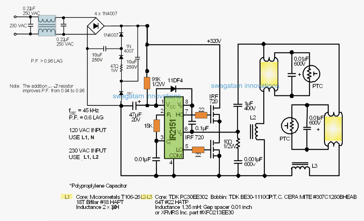 Electronic Ballast For Twin 40 Watt Fluorescent Tubes Wiring Diagram Also 2 L In Addition Circuit With Pfc
