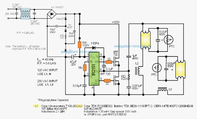Circuit for Twin 40 Watt Fluorescent Tubes with PFC