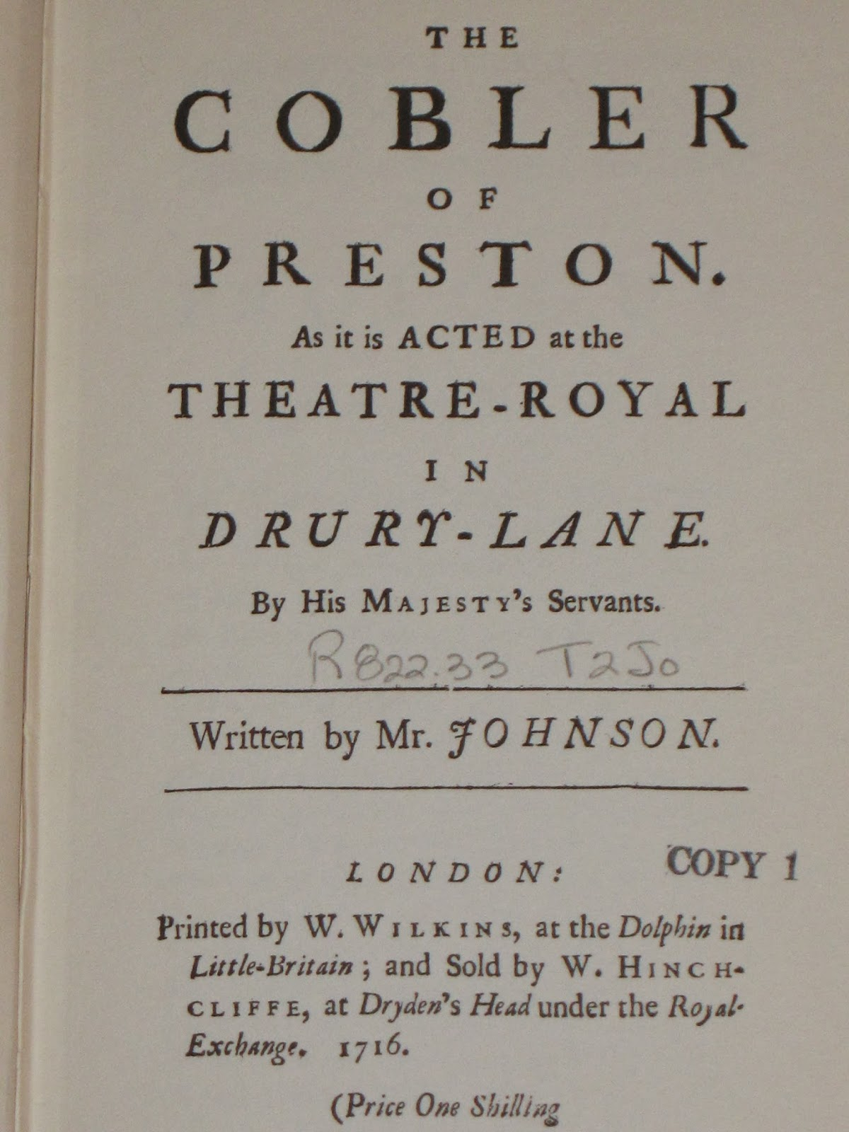 mostly shakespeare but also some occasional nonsense the cobler of preston by charles johnson the cobler of preston is an early adaptation of the taming of the shrew published in 1716