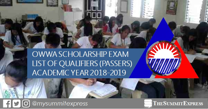 LIST OF PASSERS: OWWA Scholarship Exam Results for AY 2018