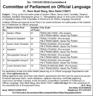 Committee of Parliament on Official Language Recruitment 2016 - 25 LDC, Stenographer, Assistant Posts