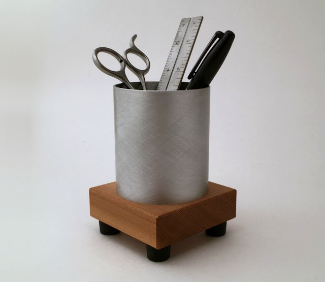 Metal and Recycled Wood Pen Holder