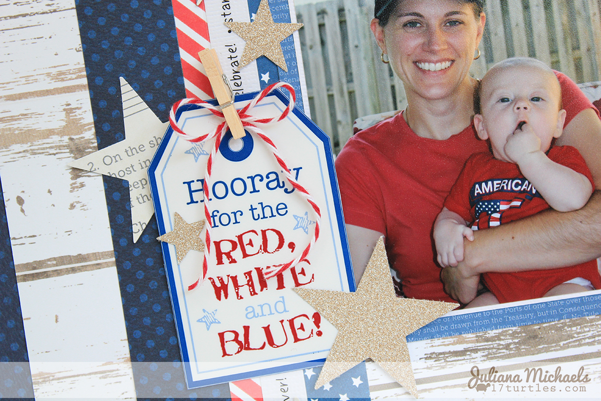 SRM Stickers Blog - Celebrate Independence Layout by Juliana - #stickers #twine #patriotic $4thofJuly