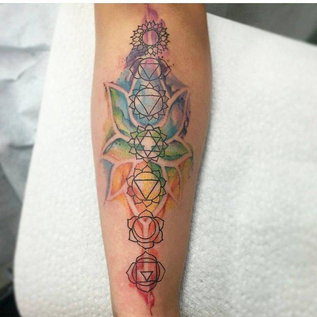 Origin Chakra Symbol Tattoo on Forearm