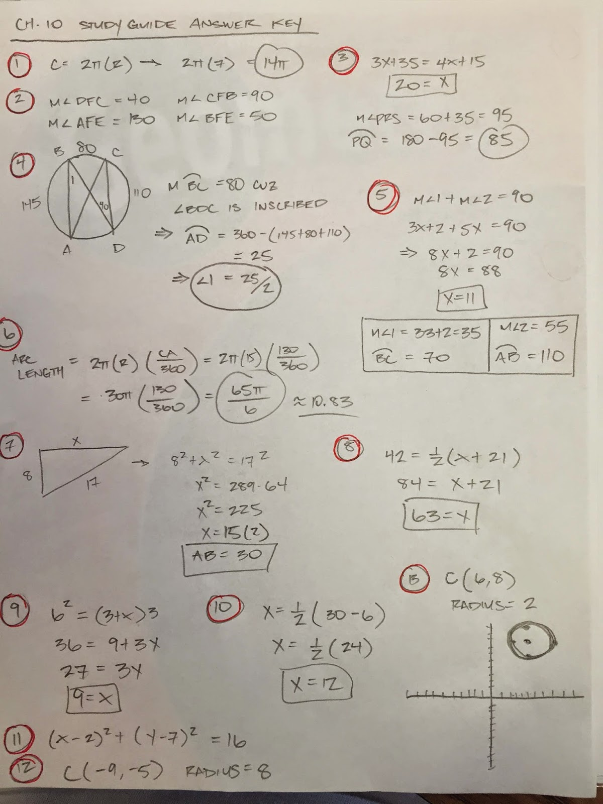 Honors Geometry - Vintage High School: Chapter 10 practice ...