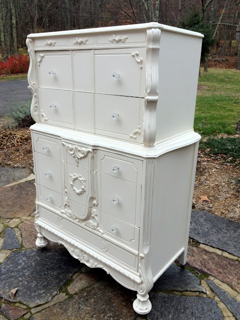 Shabby chic tall painted dresser with rose appliques
