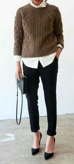 fall office style obsession : sweater + white shirt + pants + heels + bag