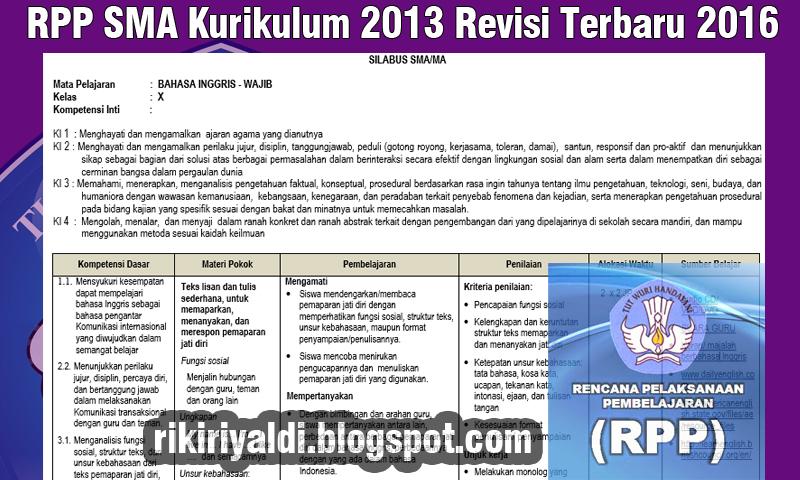 Rpp Sma Kurikulum 2013 Revisi Terbaru 2016 Belajar Mengajar