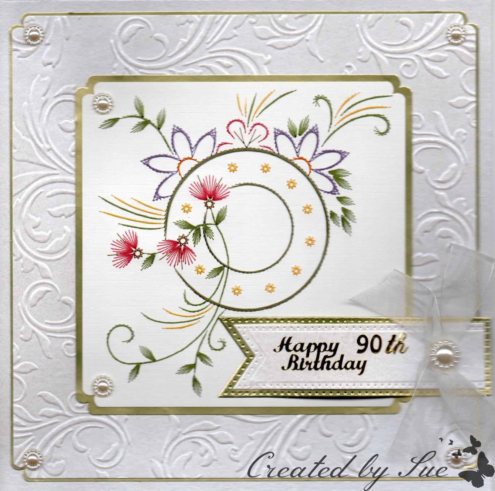Stitch A Greeting 90th Birthday Cards