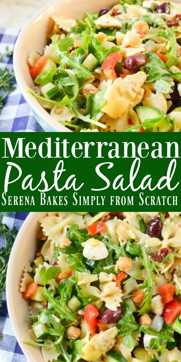 Mediterranean Pasta Salad Recipe is a favorite at picnics and barbecues from Serena Bakes Simply From Scratch.