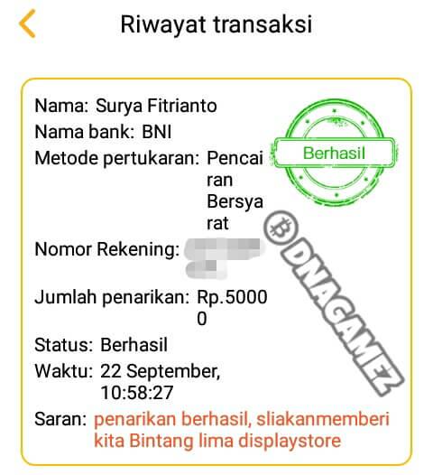 Berikut ini adalah screenshoot bukti Withdraw / Pembayaran dari aplikasi News Cat: