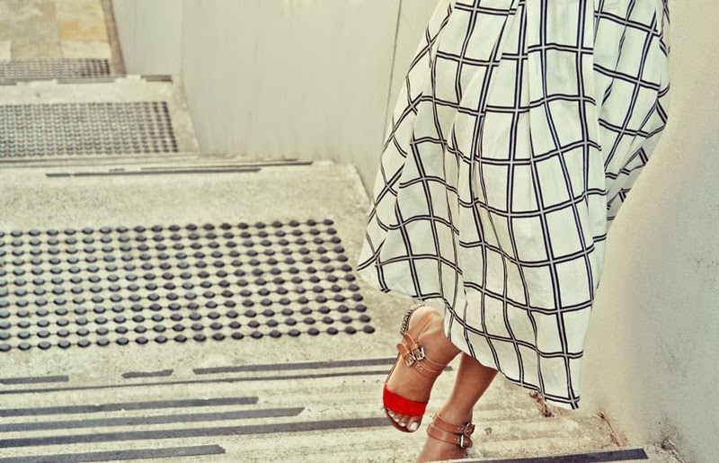 check, grid, midi skirt, black and yellow,