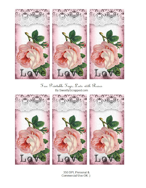 Romantic Retro Roses: Free Printable Labels.