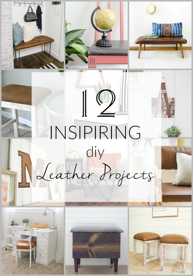 12 Inspiring DIY leather project ideas and tutorials. #MonthlyDIYChallenge