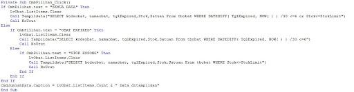 Mengecek Barang Expired Lengkap Di Visual Basic 6.0