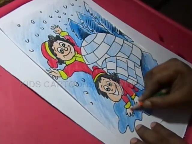 kids cartoon drawings how to draw winter season drawing