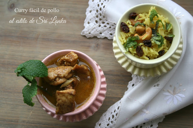 curry fácil de pollo,arroz jazmín
