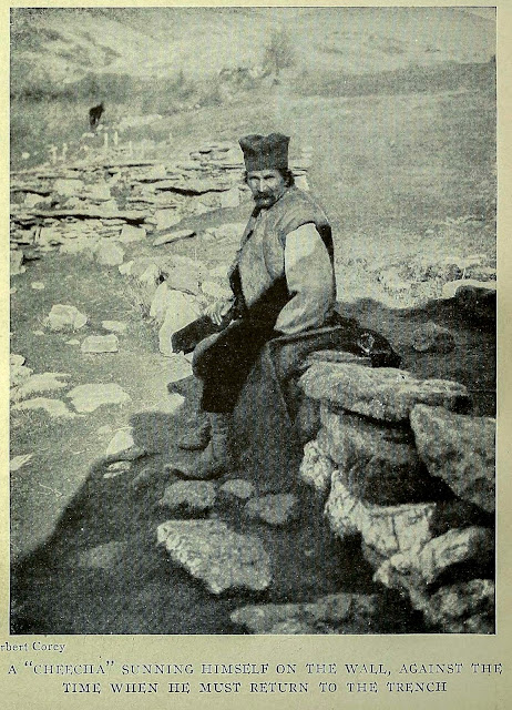 """A """"CHEECHA"""" SUNNING HIMSELF ON THE TIME WHEN HE MUST RETURN TO WALL, AGAINST THE TRENCH THE ON THE MONASTIR ROAD"""