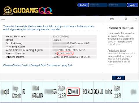 Selamat Kepada Member Setia GudangQQ WD sebesar Rp. 8,250,000.-