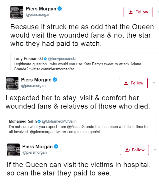 Morgan criticises Ariana Grande for heading home after Manchester terror attack instead of visiting the victims like the queen did