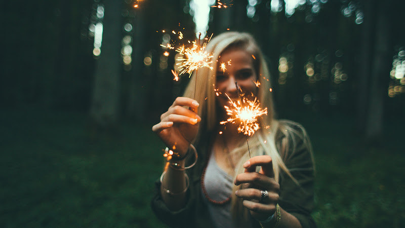 Girl with Fireworks 2 HD