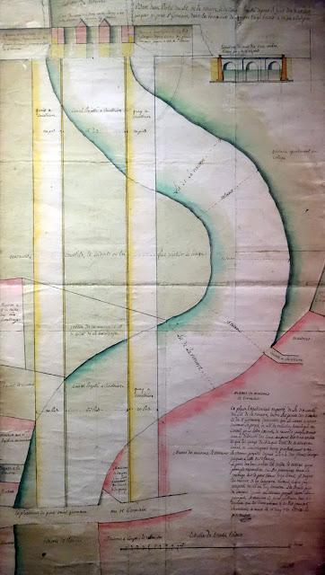 Plan du projet de canalisation de la Vilaine au niveau du pont Saint-Germain par Chocat de Grandmaison en 1781 (Archives municipales de Rennes)
