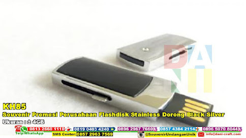 Souvenir Promosi Perusahaan Flashdisk Stainless Dorong Black Silver