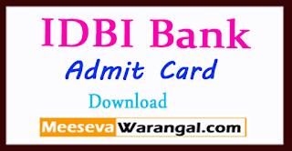 IDBI Bank Admit Card 2018 Download