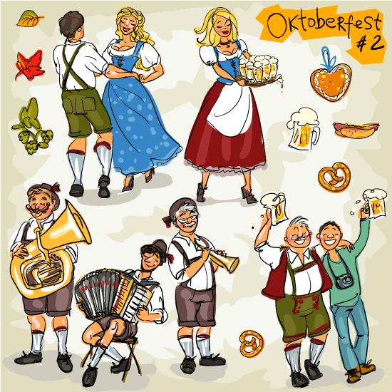 """Personas festejando el """"Oktoberfest"""" - Vector"""