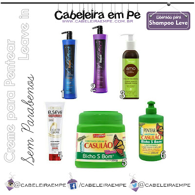 Composição Creme para Pentear e Leave in liberados para Low Poo (Griffus, AMO Yenzah, Cicatricreme Elseve, Casulão)