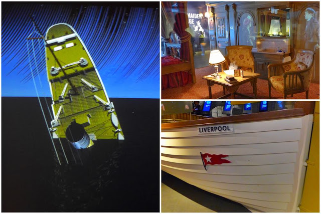 Hundimiento del Titanic, interior de camarote y bote salvavidas en la exposición del Museo del Titanic en Belfast