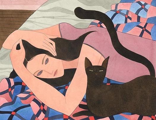 Kelly Beeman arte | dibujo en acuarela de mujer recostada acompañada de gato negro