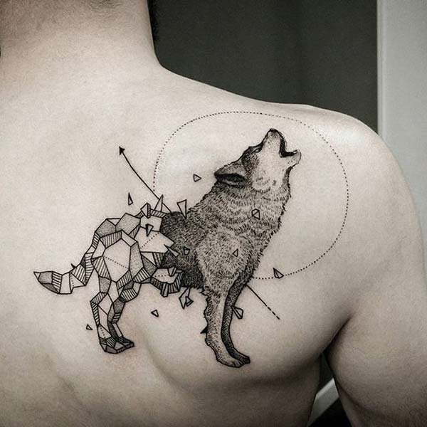 modern art wolf tattoo