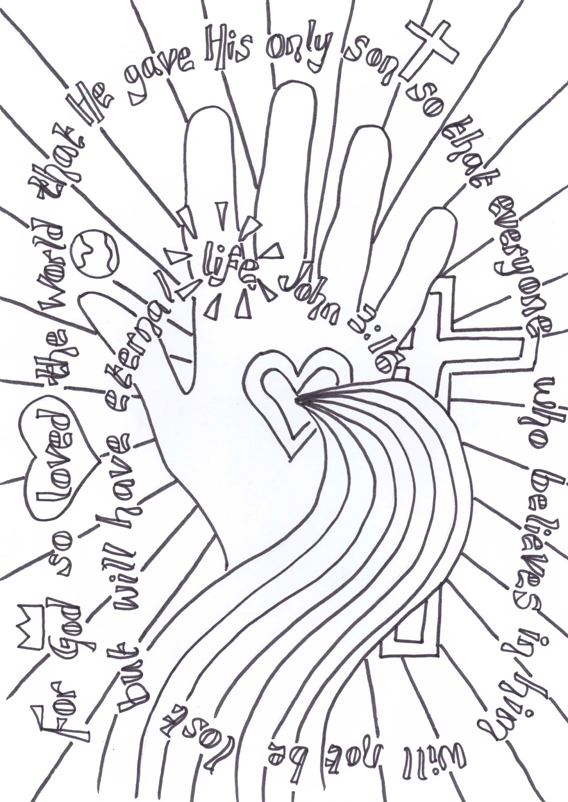 Flame: Creative Children's Ministry: John 3:16 verse to colour