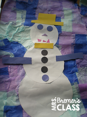 Snowman art activities for winter in Kindergarten