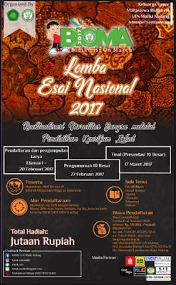 Lomba Esai Nasional BIOMA 2017 by UIN Maliki Malang