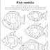 Plantilla para móvil de peces