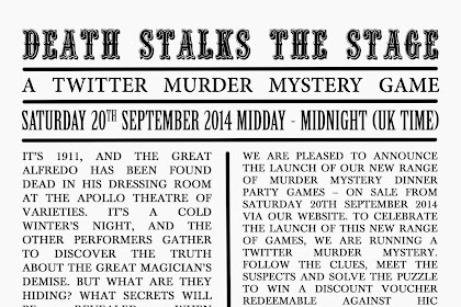 Gaming Events 2019 - Death Stalks the Stage - a Twitter Murder Mystery Game - infogaming7.blogspot.com