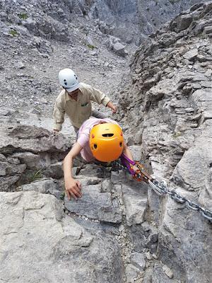 Chain assisted downclimb on Mount Yamnuska
