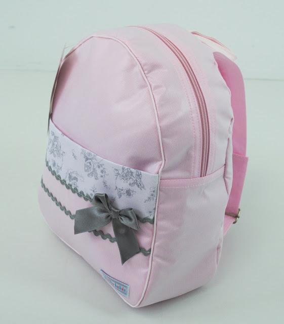mochila guarderia bebe rosa gris