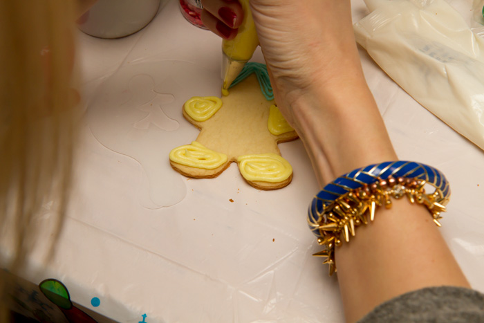 Decorating cookies and wearing Stella & Dot, True Worth Design and J Crew Bracelets